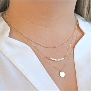 Minimalist Boho Indie Cute Layered Pearl Necklace